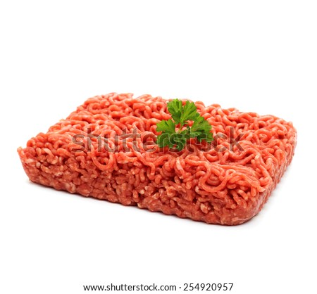 Beef minced meat with parsley, isolated - stock photo