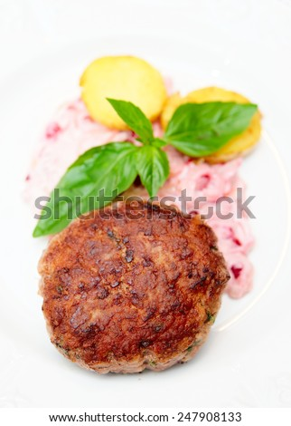 Beef patty cake with creamy sauce and potatoes on plate - stock photo