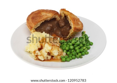 Beef pie mashed potato and peas on a plate isolated against white - stock photo