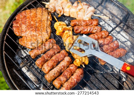 beef, pork, chicken, sausages  on the grill - stock photo