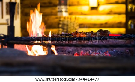 beef shish kabobs on the grill - stock photo