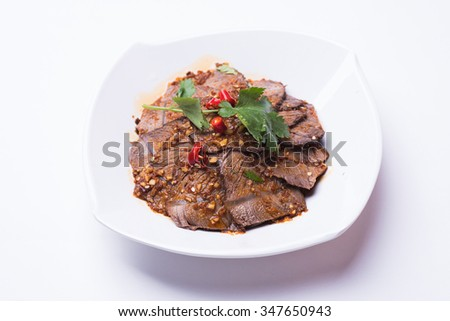 Beef slice isolated on white background - stock photo