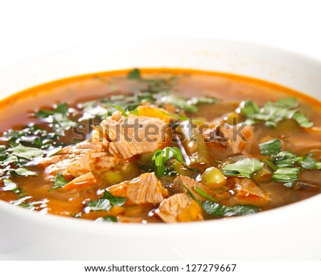 Beef soup in a white bowl - stock photo