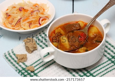 Beef soup with vegetables . - stock photo