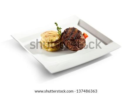 Beef Steak with Potato - stock photo
