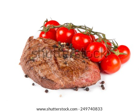 Beef steak with vegetable medium grilled, isolated on white background  - stock photo