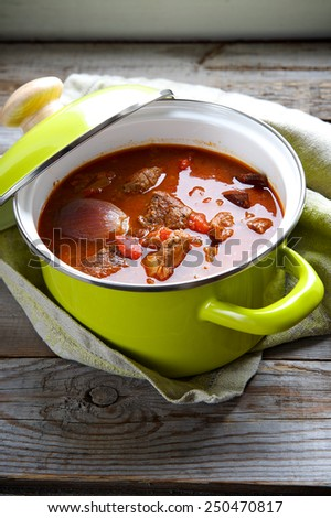 Beef stew with vegetables in a bright pot - stock photo