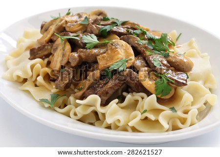 beef stroganoff with pasta, russian cuisine isolated on white background - stock photo