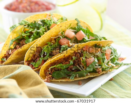 beef taco meal - stock photo