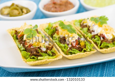 Beef Tacos - Shredded beef taco trays topped with salsa, sour cream and grated cheese. Refried beans, guacamole and jalape�±os in background - stock photo