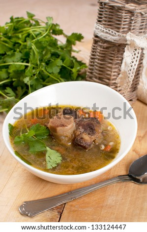 Beef tail soup with parsley and pearl barley - stock photo