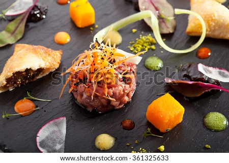 Beef Tartare with Various Dip - stock photo