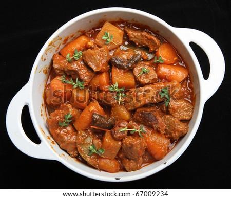 Beef & vegetable stew. - stock photo