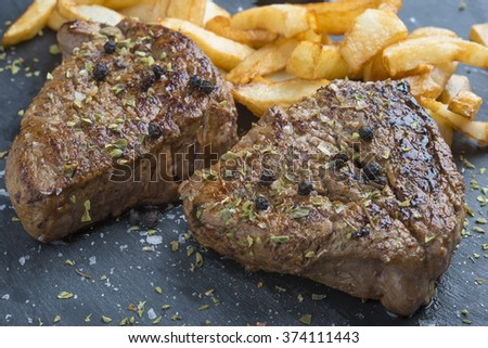 Beef with chips - stock photo