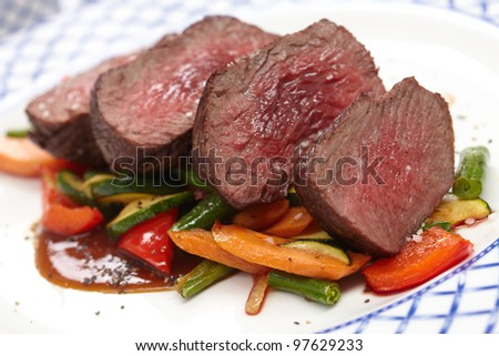 beef with vegetables - stock photo