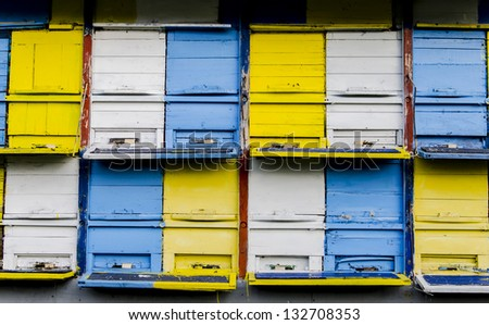 Beehives - stock photo