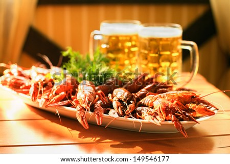 Beer and boiled crawfish - stock photo