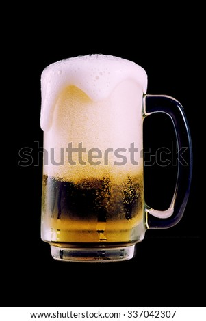beer and bubble on black background - stock photo