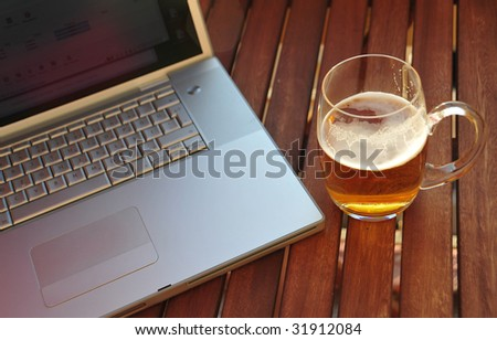 beer and laptop - stock photo