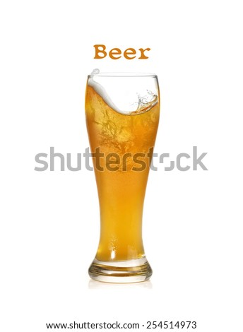 beer and the glass - stock photo