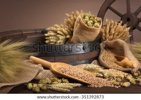 beer barrel with hops, wheat, grain, barley and malt - stock photo