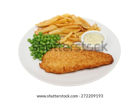Beer battered cod, chips and peas with tartar sauce on a plate isolated against white - stock photo