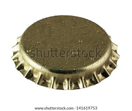 beer bottle cap close up macro Isolated on white - stock photo