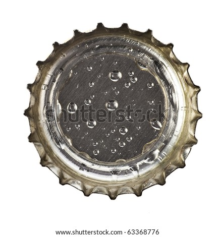 beer bottle cap with water drops close up macro  Isolated on white background - stock photo