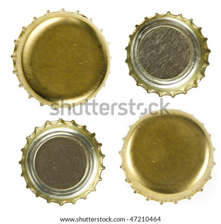 beer bottle caps   Isolated on white background. - stock photo