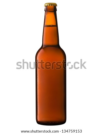 Beer bottle isolated on white background. Clipping Path - stock photo