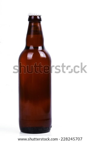 Beer bottle on a white background - stock photo