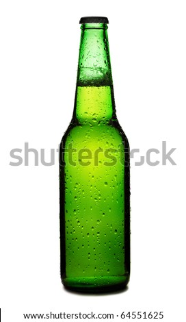 Beer bottle with drops isolated on white background, green beer bottle isolated - stock photo