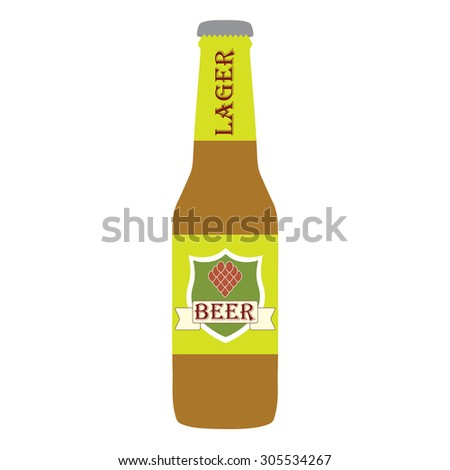 Beer bottle with label on white background. Colorful icon or sign. Symbol or design element for restaurant, beer pub or cafe. Vector illustration. - stock photo