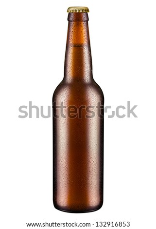 Beer bottle with water drops - stock photo