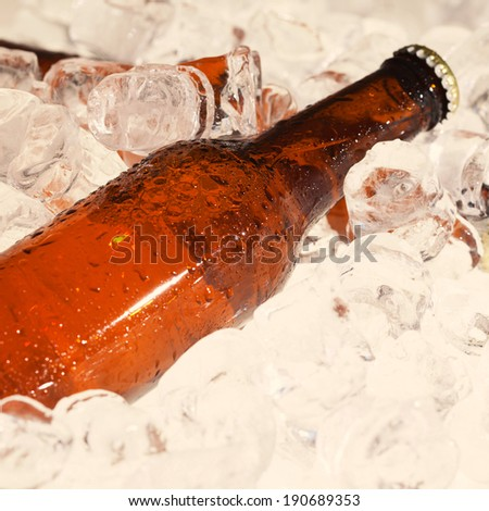 Beer bottles beeing cooled down - stock photo
