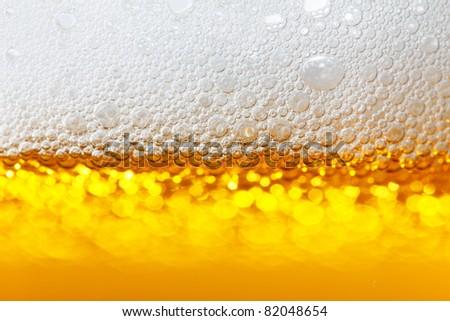beer bubbles closeup - stock photo