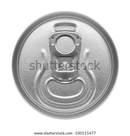 beer can on white background, view from the top - stock photo