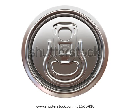 beer can top view isolated on white background - stock photo