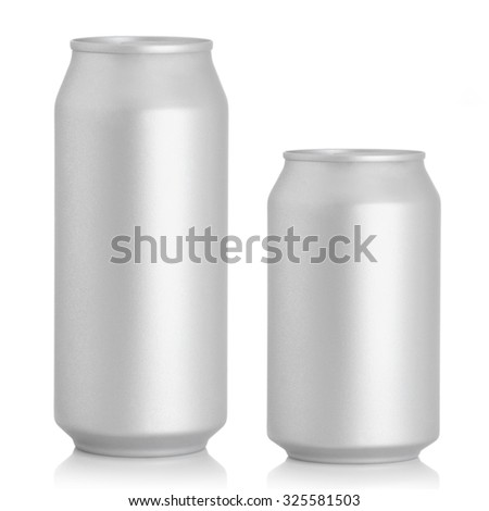 beer cans on a white background - stock photo