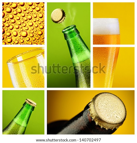 Beer collage with different mugs and bottles - stock photo