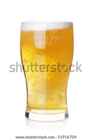 Beer collection - Cold lager beer in glass. Isolated on white background - stock photo