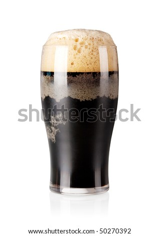 Beer collection - Cold stout beer in glass. Isolated on white background - stock photo