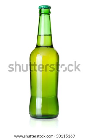 Beer collection - Green beer bottle. Closeup, isolated on white background - stock photo