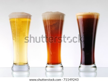 Beer collection - Three glasses of beer - stock photo