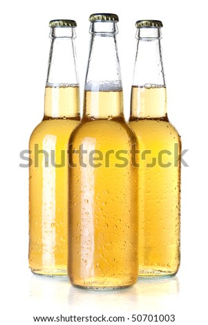 Beer collection - Three lager beer bottles. Isolated on white background - stock photo