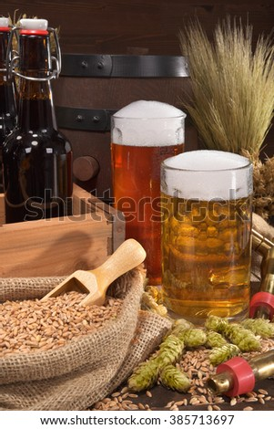beer crate with different beers, hops, wheat, grain, barley and malt - stock photo