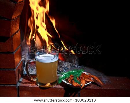 Beer crayfish fireplace - stock photo