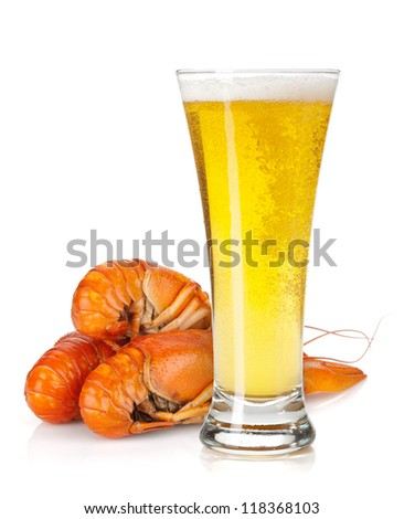 Beer glass and boiled crayfishes. Isolated on white background - stock photo