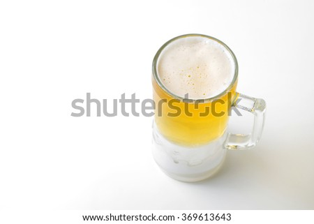 beer glass isolated on white - stock photo
