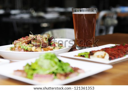 Beer glass on the table. - stock photo